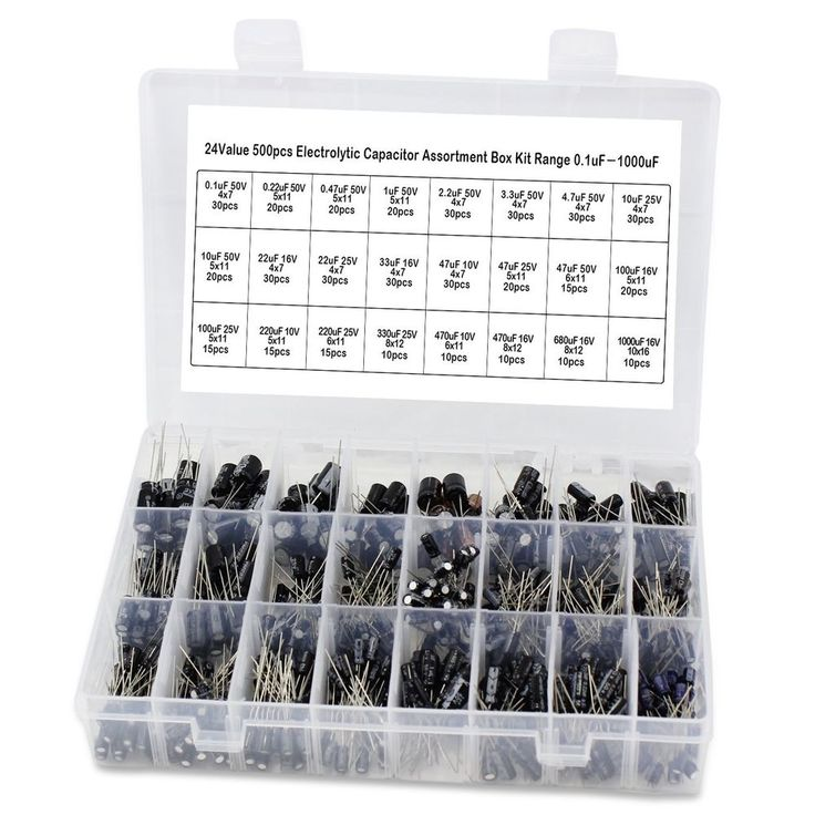 Aussel 24 Value 500pcs Electrolytic Capacitor Assortment Sturdy Order Box Kit