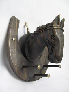 $20 VINTAGE Unique HORSE KEY HOLDER Hanger Dark Brown 19x15x24cm Text 0411691171 or email info@bitspencer.com