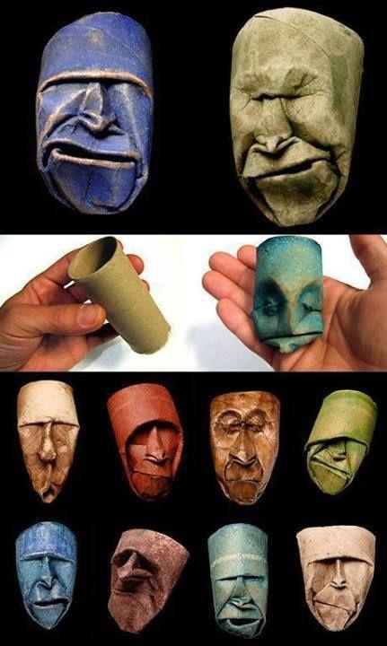 Faces using toilet paper rolls