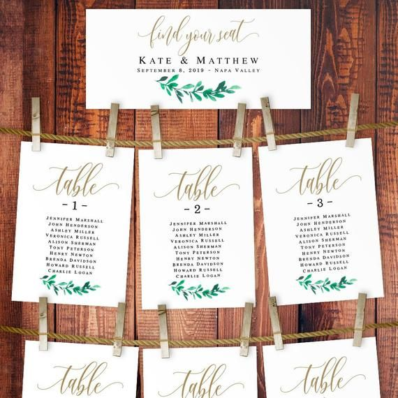 Bohemian Greenery Wedding Seating Chart Card Gold Green Wedding Printables Gold Seating Plan T Seating Plan Template Seating Plan Wedding Seating Chart Wedding