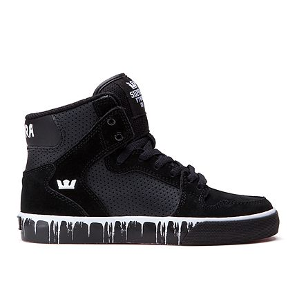 SUPRA Footwear™ | Official Store | KIDS VAIDER | BLACK/WHITE - PAINT DRIP