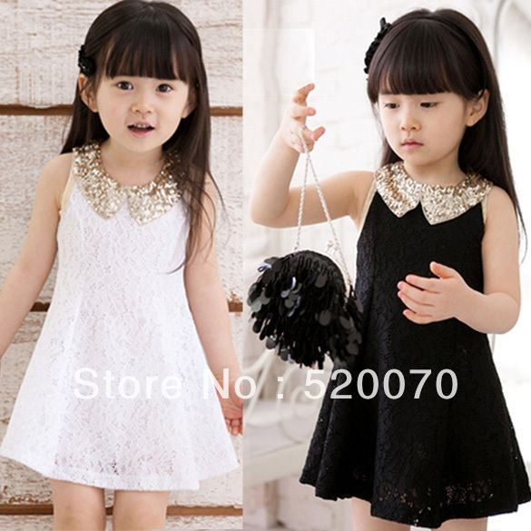 Vestido, niñas, negro, blanco