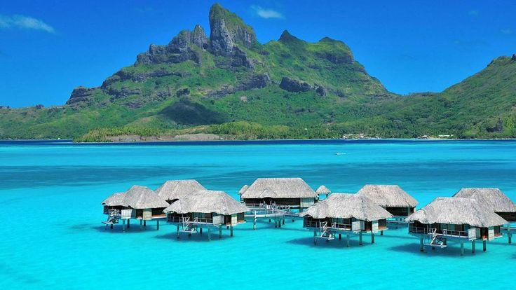 Four Seasons Bora Bora, Water and Mountain View. San Francisco to Los Angeles to Bora Bora is a popular flight path.