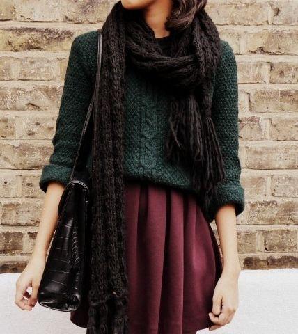 Sweater. Skirt. Emerald and plum.