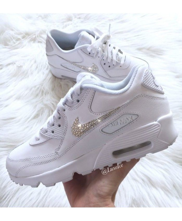 6c356be0020e Nike Air Max 90 Leather Swarovski Crystal White Trainers Sale UK ...