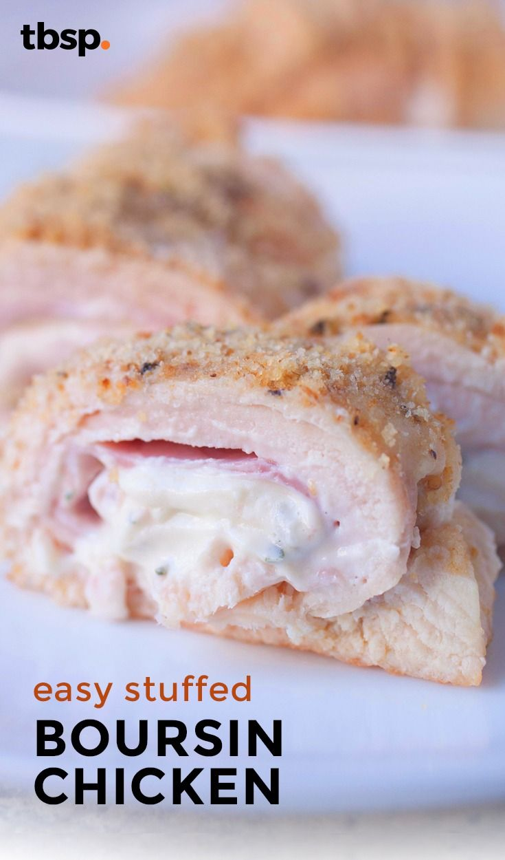 A new take on a classic chicken cordon blue stuffed with ham and boursin cheese! For a dinner ready in an hour, check out this perfect weeknight recipe!