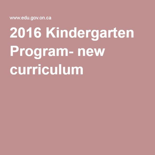 2016 Kindergarten Program- new curriculum