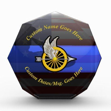 Thin Blue Line Customizable Motor Officer Acrylic Award - diy cyo customize create your own personalize