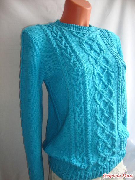 Бирюзовый... пуловер - Вязание - Страна Мам