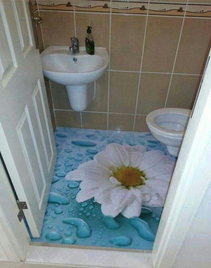 Flor 3d en el piso pisos 3d pinterest for Azulejos para piso de bano