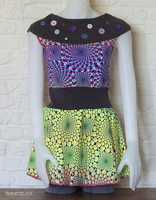 Psychedelic, tekno, goa dress with Space Tribe fabric made by Teknicolor