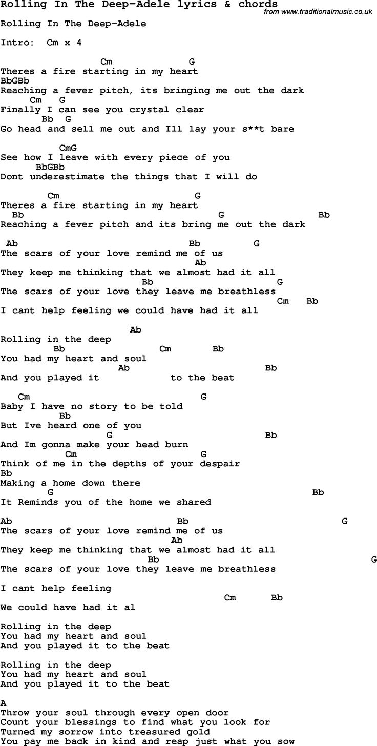 Love Lyrics for:Rolling In The Deep-Adele with chords for Ukulele, Guitar, Banjo etc.