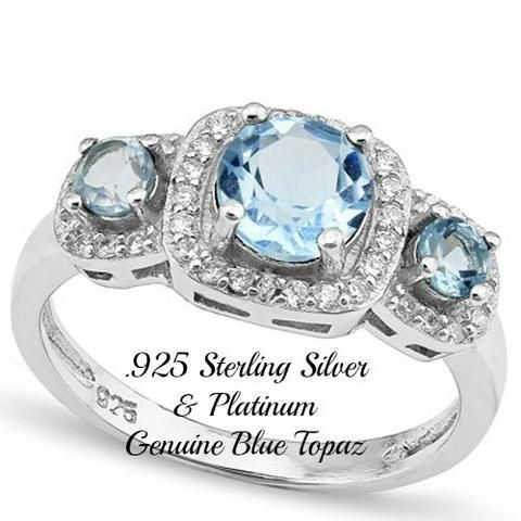Solid .925 Sterling Silver & Platinum, 2.50ctw of Genuine Blue Topaz Ring