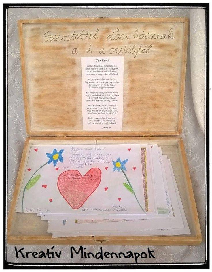 Búcsúajándék 4. osztálytól a tanító bácsinak. A doboz belsejében a gyerek rajzaival és üzeneteivel.