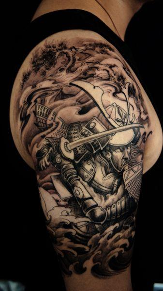 Samurai tattoo half sleeve #Samurai #Tattoo #Japanese