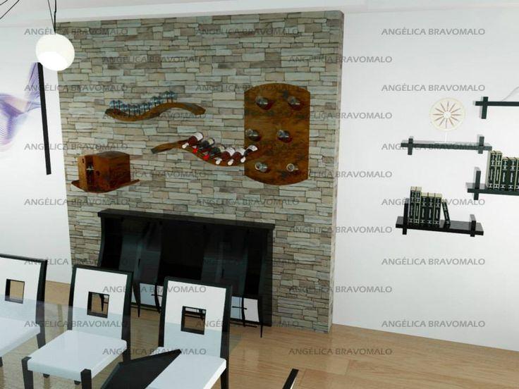 Mueble auxiliar de bar empotrado en la pared y con repisas móviles. Segunda opción de deslizamiento.