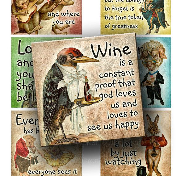INSTANT DOWNLOAD Digital Images Sheet Vintage Funny Storybook Animals Famous Sayings Quotes Two 2 Inch Squares for Magnets Crafts (GSTWO33)
