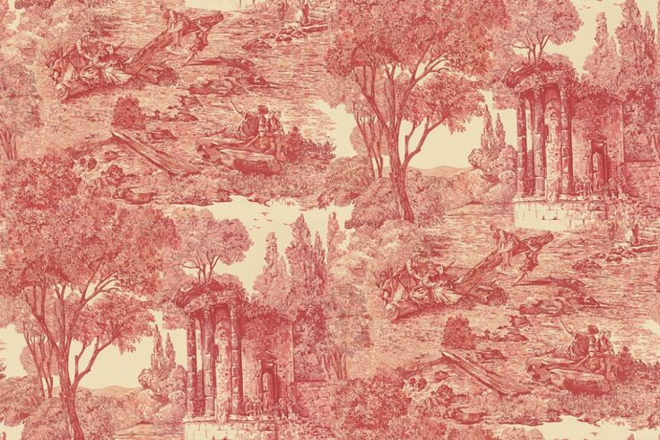 Le Temple De Jupiter (ZCHP07003) - Zoffany Wallpapers - Based on a classic highly romanticised scene of an Arcadian landscape with children at play by a river in the grounds of a ruin. Shown in the red colourway. Please ask for sample for true colour match. Wide width wallcovering.