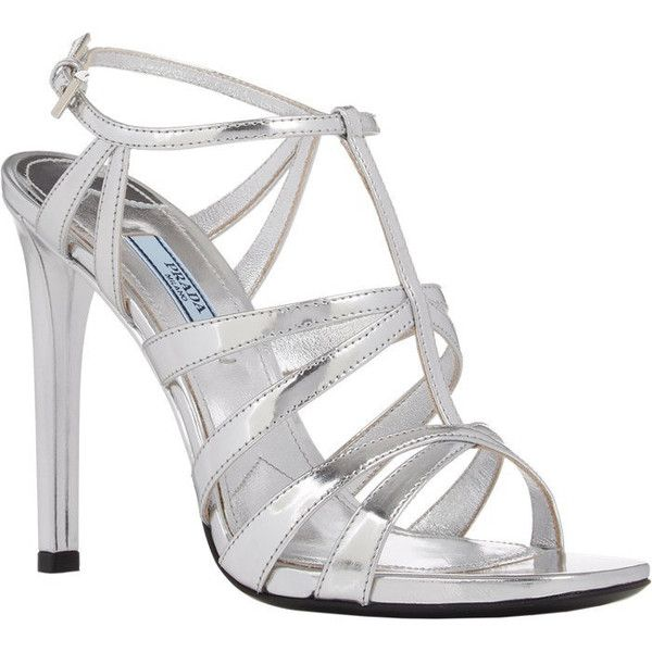 Prada Strappy Metallic Leather Sandals Silver High Heel Caged New Size... ($420) ❤ liked on Polyvore featuring shoes, sandals, silver high heel sandals, prada sandals, leather strap sandals, high heels sandals and cage sandals