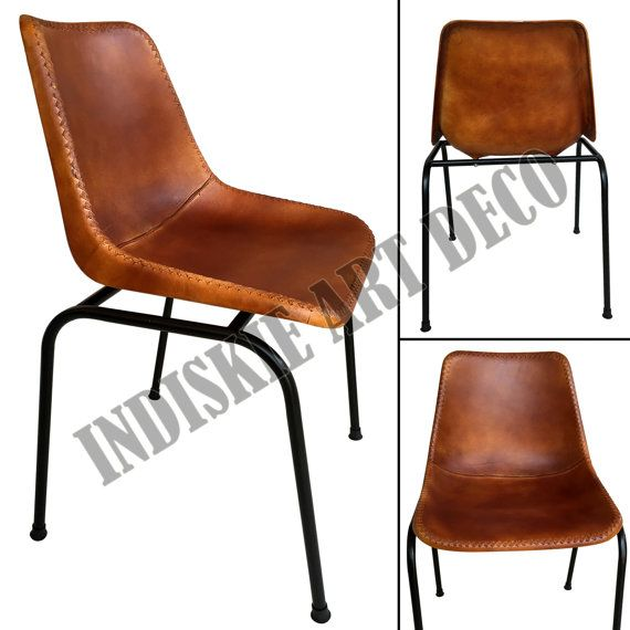 Vintage stitched leather dining chair retro leather school for Genuine leather dining room chairs