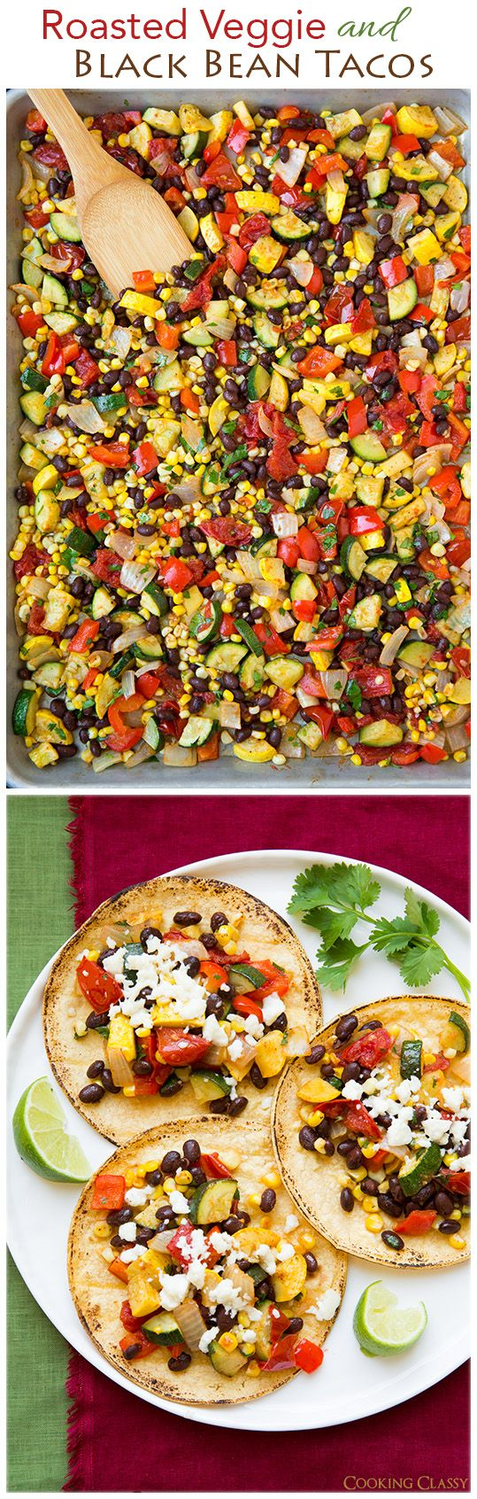 Roasted Veggie and Black Bean Tacos - These tacos are seriously delicious! My whole family loved them, meat loving husband included!