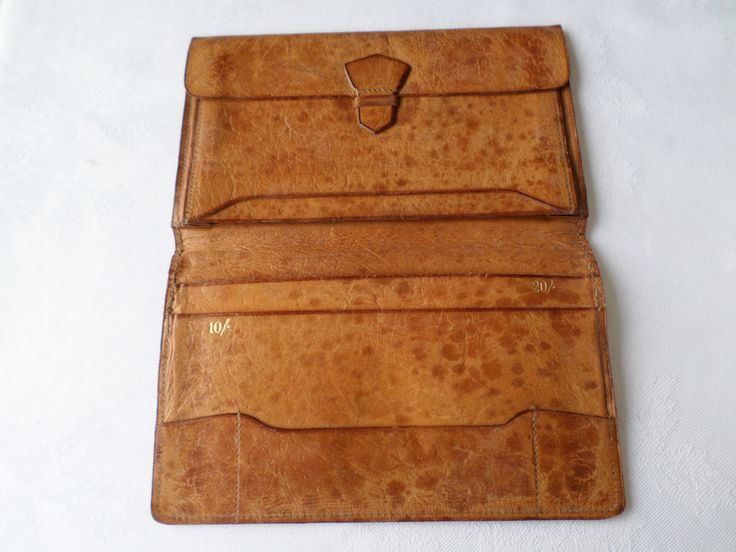 Vintage Tan Light Brown Calf leather wallet Bi fold by RetroWARDROBE on Etsy