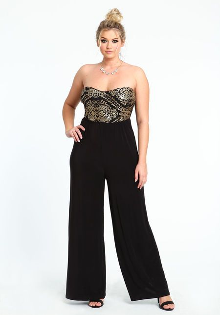 A Whole New Way To Do Evening Plus Size Gold Sequin Jumpsuit Love