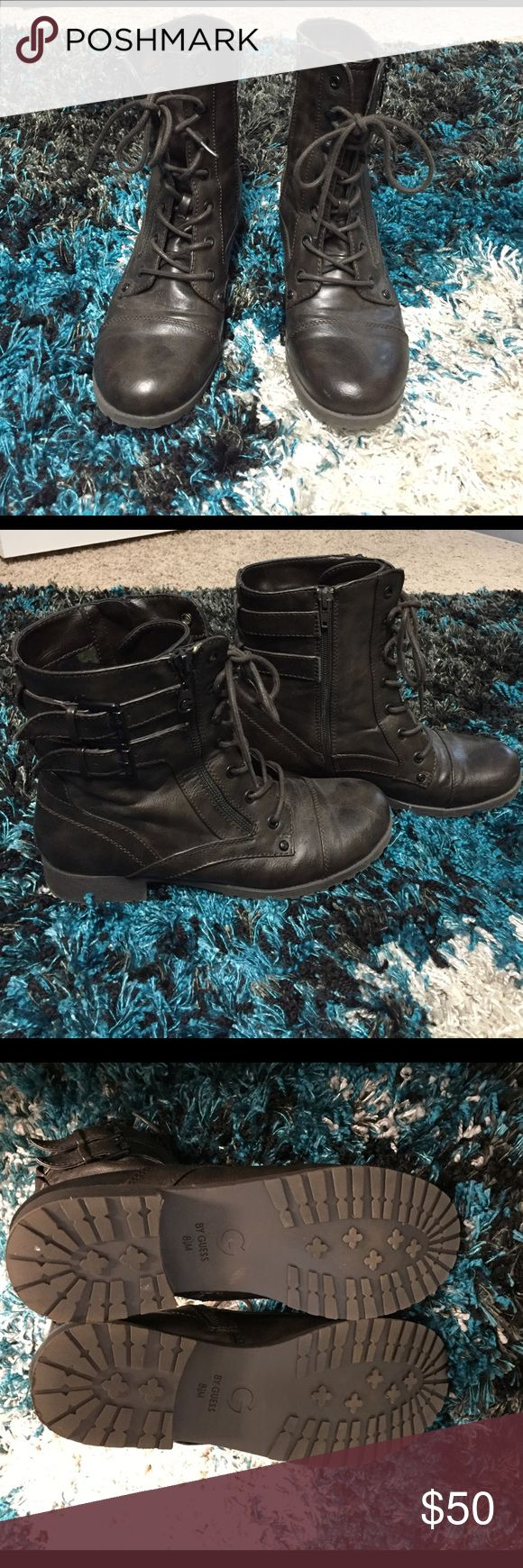 Dark Brown Guess Military Boots Rarely worn Guess boots. Size 8.5 M. They are dark brown with great buckle and zipper accents. They tie up as well as zip up on the inside. Can be laced all the way up or only part way and tied. Look great with skinny jeans. Comfortable, I just haven't worn much. G by Guess Shoes Combat & Moto Boots