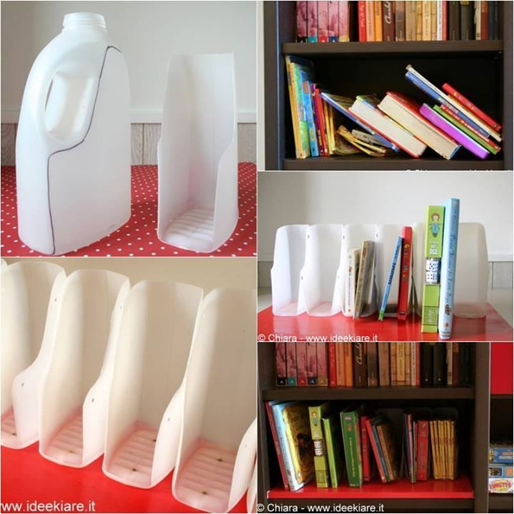 DIY Book Organizer from Recycled Plastic Bottles! All you need is just a few recycled plastic bottles such as milk jars, detergent bottles, etc, a few screws and a piece of wood panel as the base for the organizer. You can place the whole piece of book organizer on your desk, or inside the shelf of the bookcase.  #awesomewaytoorganize #recycleplasticbottles #recycledbookshelf