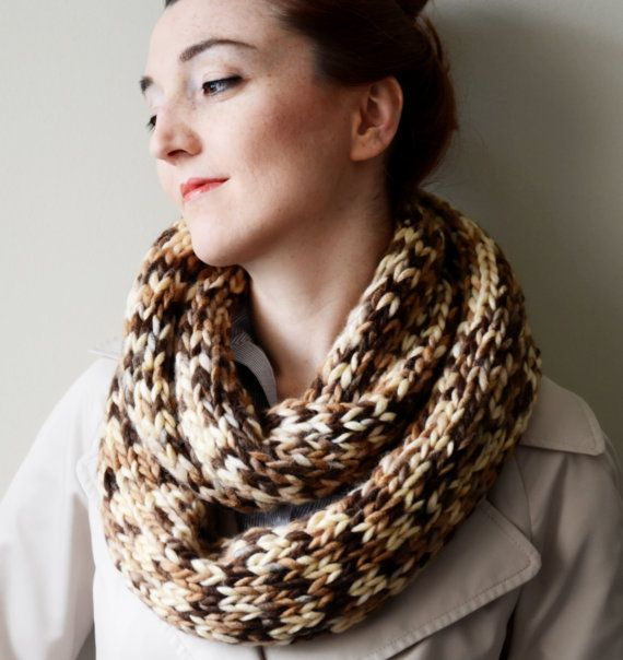 SALE beige brown chunky infinity scarf cowl by LOVELYCHICKNITTING