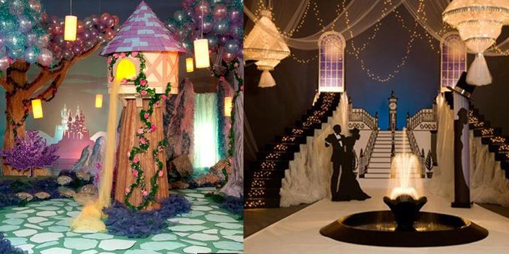 Fairy Tale theme -- Pull off the look by decorating a castle in rose vines. You can also hang white tulle from the ceiling and weave string lights through the fabric and hang lanterns from the ceiling to create faux chandeliers.