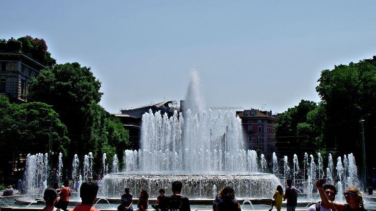Fountains outside Castello Sforzesco