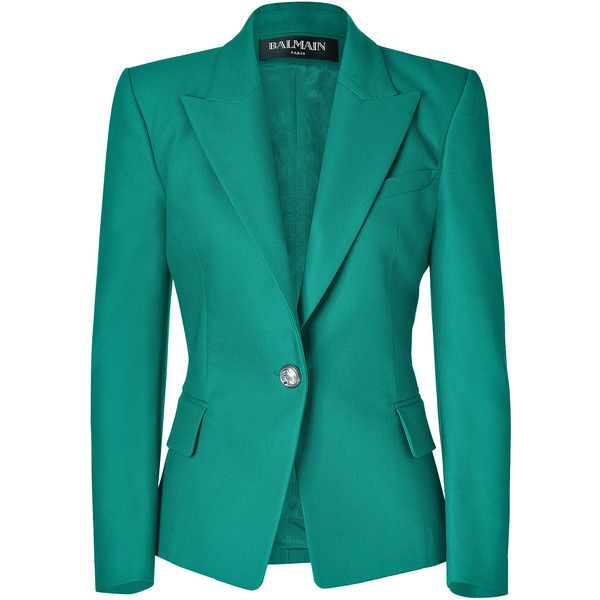 BALMAIN Emerald One Button Stretch Cotton Blazer ($2,140) ❤ liked on Polyvore