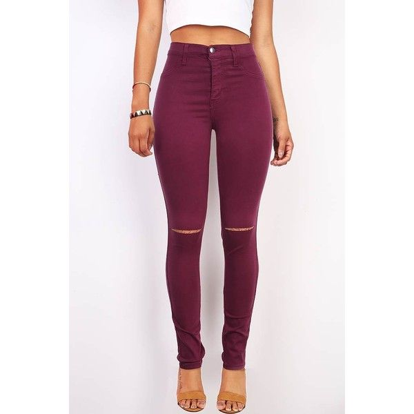 Pink Ice Slashed High Waist Skinny Pants ($40) ❤ liked on Polyvore featuring pants, purple, high-waisted pants, skinny jeggings, high rise pants, straight pants et purple skinny pants