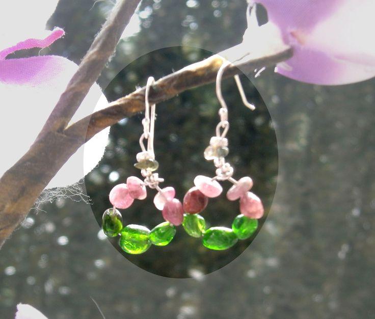 boucles d oreilles CHACKA DU COEUR chrome diopside. tourmaline rose. argent : Boucles d'oreille par lithofun