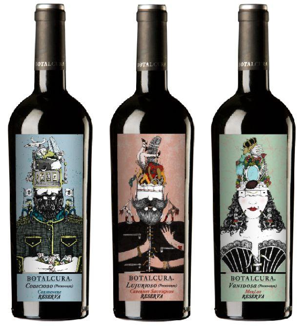 Trilogía Pecadores by Botalcura Winery para Wallmart, Lider, Codicia, Soberbia, Lujuria, vinos