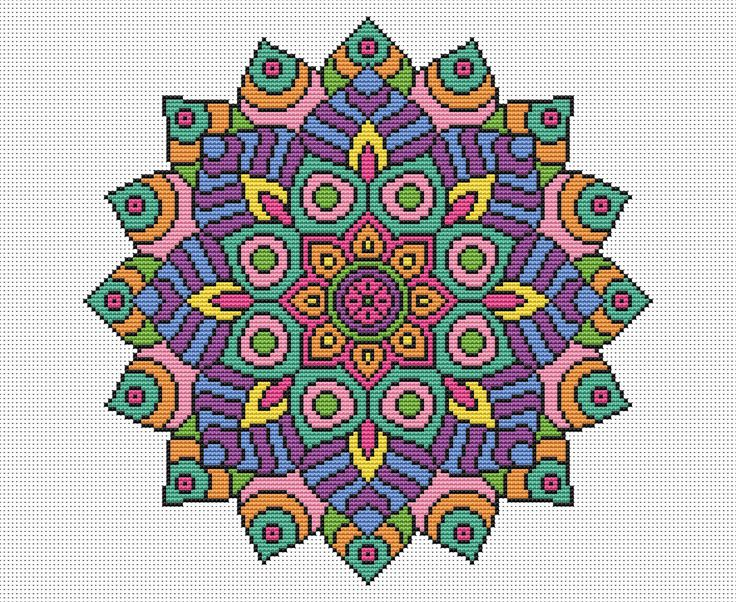 Thank you for looking!  Available here is this complete cross stitch chart which will be made available to you immediately after purchase. Youll be able to download and keep the file.  The Mandala, representing the universe, is coloured with a vibrant bright palette for a true statement stitch. The design uses whole cross stitches only and is of an easy skill level. 16 count white Aida is recommended for this chart. When stitched it will measure 21.8 cm x 21.8 cm or 8.6 x 8.6 inches. The…