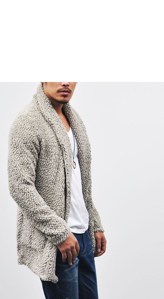 Outerwear :: Cardigans :: Relax Poodle Wool Thick Shawl-Cardigan 28 - Size small...beige color