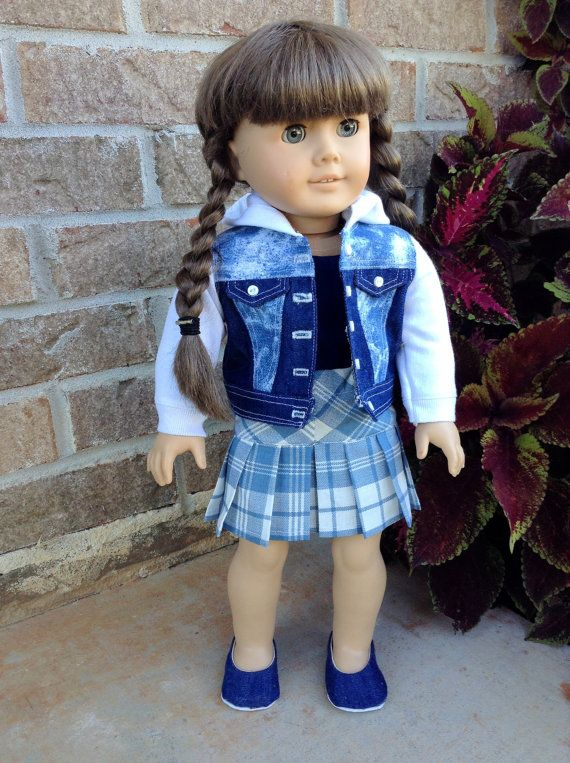 18 Inch Doll Jean Jacket Hoodie and Pleated by PincushionsAndPaper