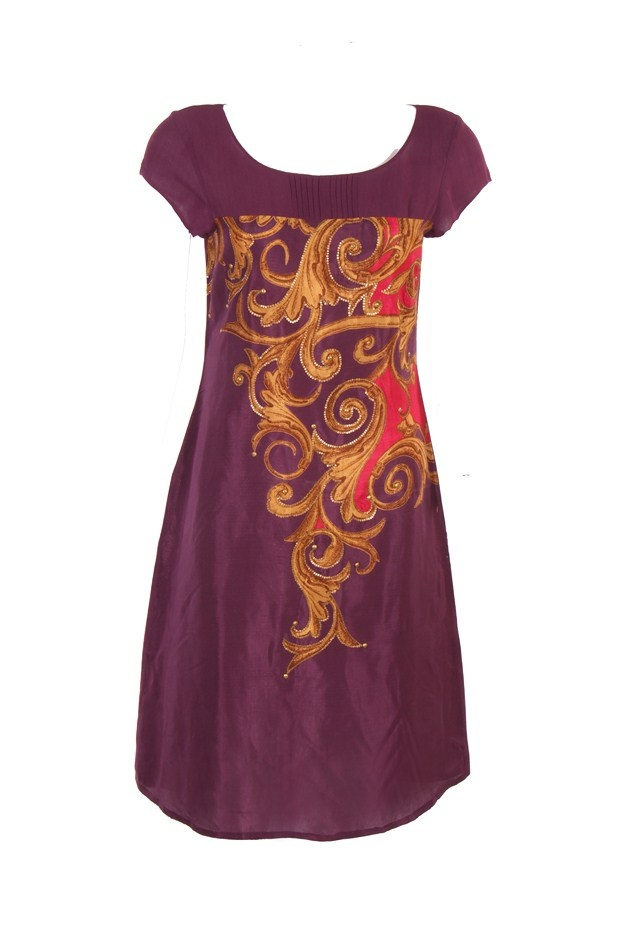 Purple Solid Kurta With Central Print Placement On Shantung Fabric; Deep U Neck With Pleating On The Yoke; Short Sleeve; Sequin Embellishment; 40 Inches In Length #Wishful #Clothing #Fashion #Style #Kurti #Wear #Colors #Apparel #Semiformal #Print #Casuals #W for #Woman