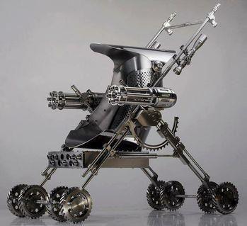 Dual machine gun baby stroller. O.o