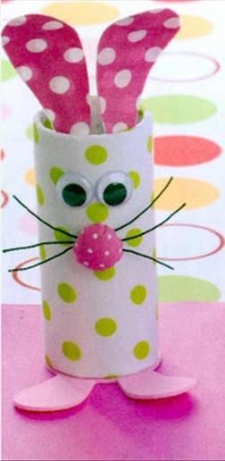 Toilet Paper Roll Easter Bunny Craft Idea For Kids www.dumpaday.com  Easy.  Kids enjoyed.  Used paper and Pom poms instead.