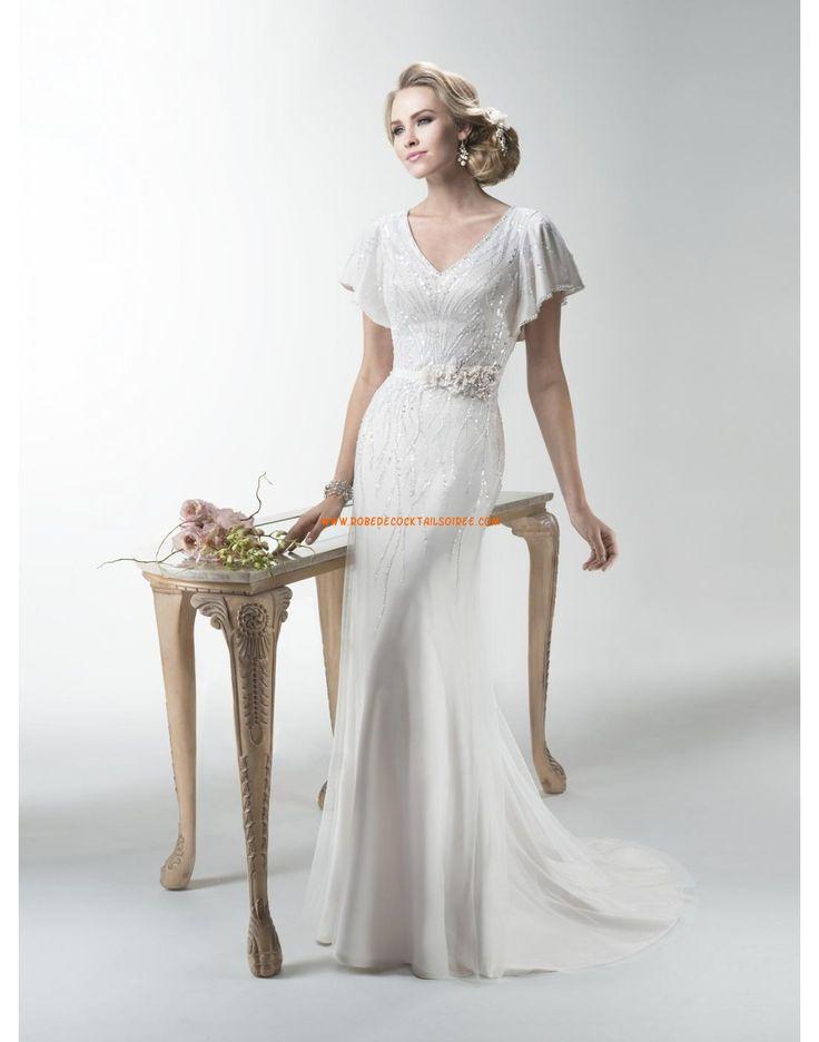 Robe de mariée Fourreau Tulle Traine Courte Moderne Col En V 2015