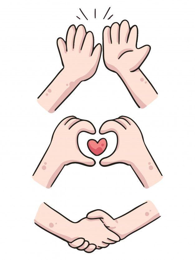 Hands High Five Heart And Shake Hands Cute Cartoon Illustration Cartoon Illustration Hand Illustration Cartoon Clip Art