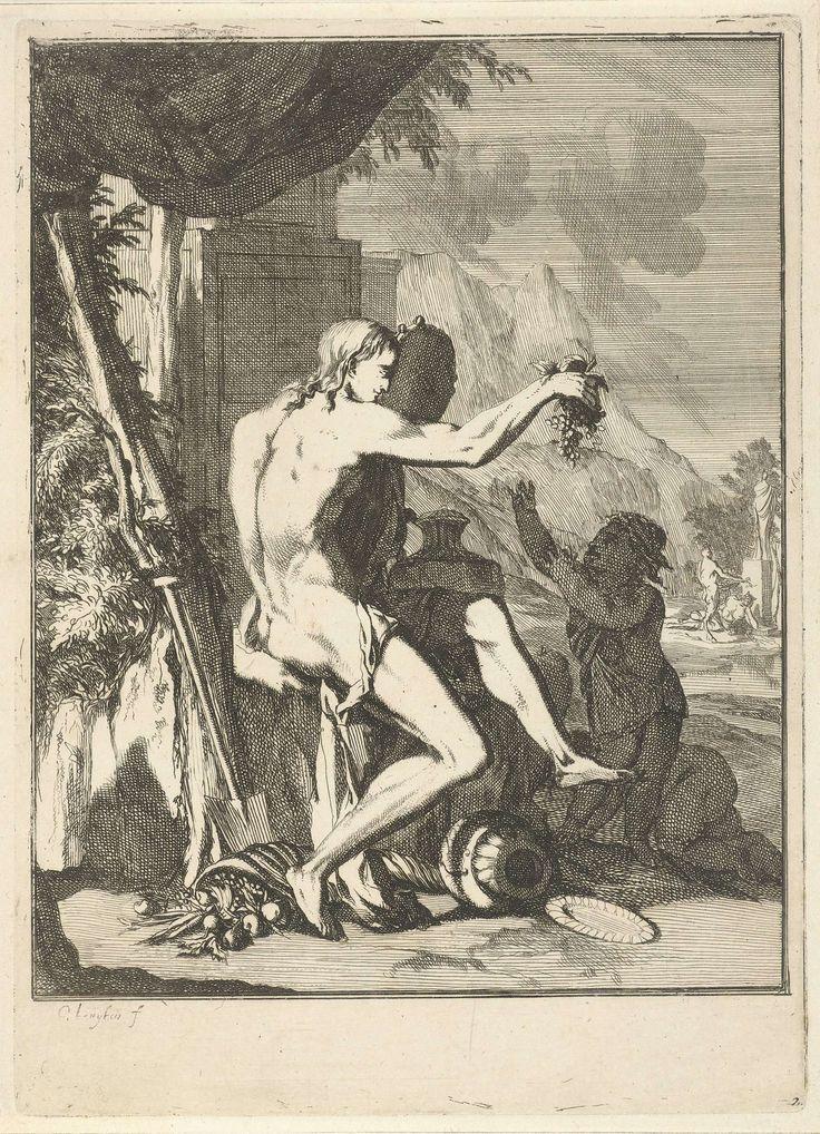 Caspar Luyken | Aarde, Caspar Luyken, Jochem Bormeester, 1691 | Een naakte man, met tamboerijn in de hand, biedt een kind een tros druiven aan. Zijn voet steunt op een met vruchten gevulde hoorn des overvloeds. Op de achtergrond brengt een sater een offer.