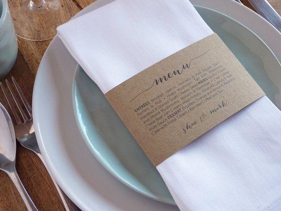 Wedding Menu Napkin Wedding Menu Wrap by WhiteWillowPaper on Etsy