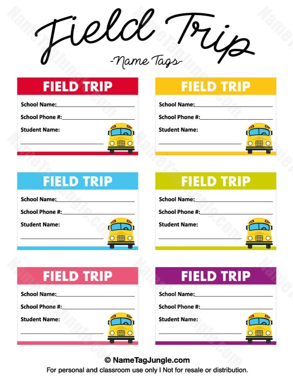 Free printable field trip name tags. The tags have fields for student name, school name and school phone number. Download the PDF at http://nametagjungle.com/name-tag/field-trip/