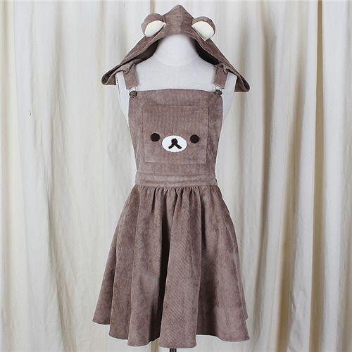 2017 Japanese A-Line Dress Cute Bear Embroidery Gown Harajuku Lolita Dress