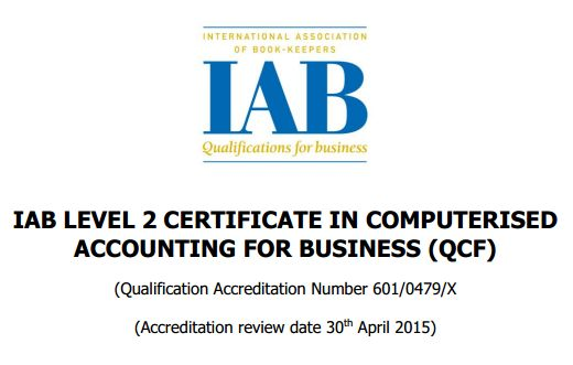 IAB Level 2 Certificate In Computerised Accounting For Business