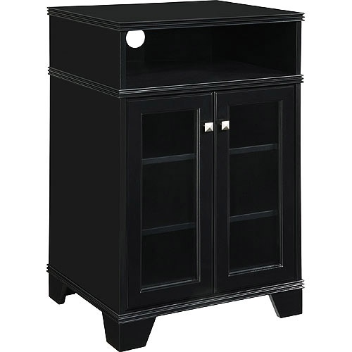 "Black Tall TV Stand, for TVs up to 25""..For game system under the wall mounted TV."